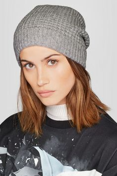 0c7e41ad037d43 Light-gray cashmere 100% cashmere Dry clean Imported Cashmere Beanie, Waffle  Knit,