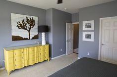 Dresser Paint- Valspar's Gala Gold laytex eggshell, Wall Paint- Glidden Granite Gray or Benjamin Moore Chelsea grey