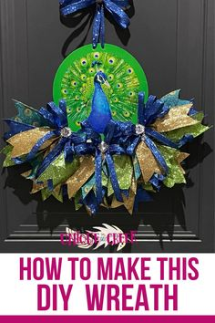 Check out this bird's feathers! This awesome DIY peacock wreath was crafted using UNIQUE IN THE CREEK'S BRAND NEW DIY RAIL WREATH BOARD! Create amazing DIY wreath projects like this one! Get your rail board and create DIY wreath decor for your front door today! #diywreath #wreath #peacock #uitc Diy Spring Wreath, Diy Wreath, Easy Diy Crafts, Crafts For Kids, Peacock Wreath, Colorful Pillows, Summer Diy, How To Make Wreaths, Diy Flowers