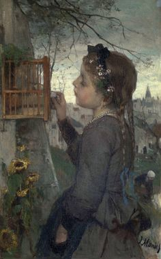 huariqueje:A Girl Feeding a Bird in a Cage - Jacob Maris 1867
