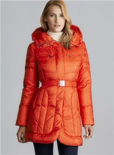 Cole Haan Quilted Down Puffer Coat With Belt (Cole Haan 656504600), Women Outerwear Down