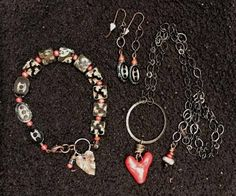 """""""L'amour"""" Copper with dark patina, Czech glass and hand-made pottery heart pendant by Cherie Anne"""