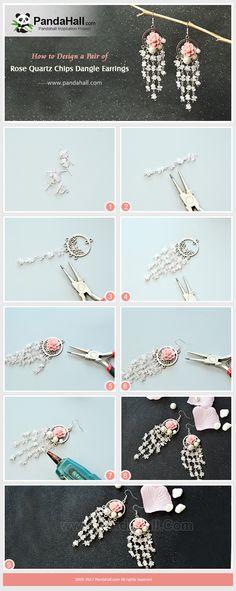 Tutoriel de faire des boucles d'oreilles en cristal de quartz rose. #PandaHall #tutoriel #diy