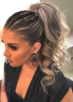 30 adorable ponytail hairstyle - Clothes, Hairstyles, etc - Wedding Hairstyles Formal Hairstyles, Up Hairstyles, Ponytail Hairstyles With Braids, Braid Ponytail, Cool Ponytails, Cute Hairstyles For Wedding, Hairstyles With Extensions, Cheer Ponytail, Running Hairstyles