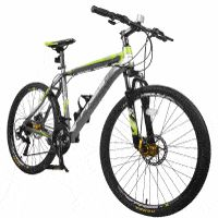 Merax Finiss 26 Aluminum 21 Speed Mountain Bike with Disc Brakes Grey&Green Single Speed Mountain Bike, Mountain Bicycle, Mountain Biking, Mountain Bike Reviews, Best Mountain Bikes, Giant Bikes, Beach Cruiser Bikes, Bicycle Race, Bicycle Maintenance