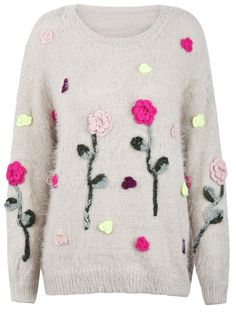 Beige Long Sleeve Applique Flowers Fluffy Sweater US$37.70