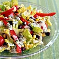 Weight Watchers santa fe salad with chili lime dressing. Pinning this for the chili lime dressing, it's insanely good! Healthy Recipes, Skinny Recipes, Ww Recipes, Salad Recipes, Great Recipes, Cooking Recipes, Favorite Recipes, Amazing Recipes, Healthy Meals