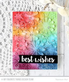 Sensational Stitched Flowers Card Kit - Yoonsun Hur #mftstamps