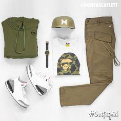 Today's top #outfitgrid is by @dontaecatlett. ▫️#C2H4LA #Hoodie & #Cargos ▫️#Bape #Tee ▫️#Myclo #Hat ▫️#Jordan3 #Cement #flatlay #flatlayapp #flatlays