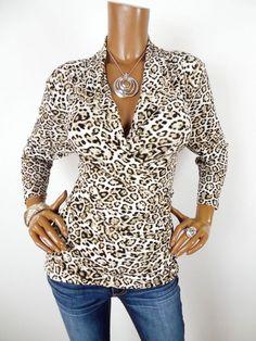 4aba10ae565 CHAUS Womens Top L SEXY Shirt Animal Print Low Cut Stretch Beige Black 3 4  Slvs  Chaus  Blouse  Casual