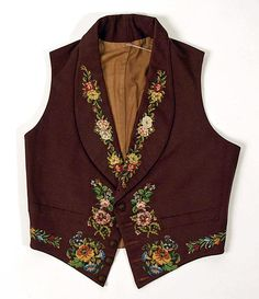 Waistcoat Date: mid-1840s Culture: British Medium: wool, silk Dimensions: Length: 18 in. (45.7 cm); Width: 28 1/2 in. (72.4 cm) Accession Number: 24.160.3 Metropolitan Museum of Art