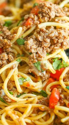 One Pot Taco Spaghetti ~ So cheesy, comforting and stinking easy with no clean-up!