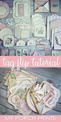 Craft along & create a set of beautiful shabby chic tags for gifts, crafting, junk journals, etc. With a printable kit, it's easy! Vintage Scrapbook, Scrapbook Albums, Scrapbooking, Flip Books, Mini Books, Journal Cards, Junk Journal, Handmade Gift Tags, Book Projects