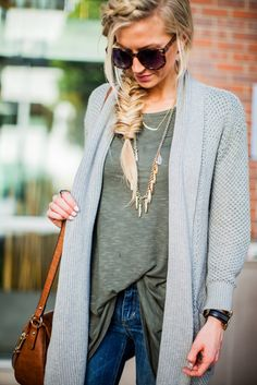 Oversized top paired with a long sweater and my favorite distressed jeans. Comfortable every day look.