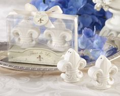 Fleur-de-Lis  Salt and Pepper Shakers  60SET/LOT wedding bridal Shower favor gift +free shipping $126.00