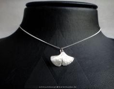 Ginkgoblatt - 925 Silber Collier  Geschenk Symbol für Lebenskraft, Stärke und Hoffnung