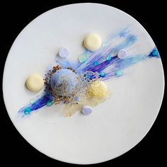 "Meteor Showers"" Blackberry sphere, buttermilk, wild rice and red quinoa crumble, meringue, yuzu…"""