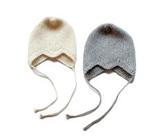 Neulotut villaiset vauvanmyssyt, tehnyt Mantelina - Knitted woollen beanies for babies, made by Mantelina