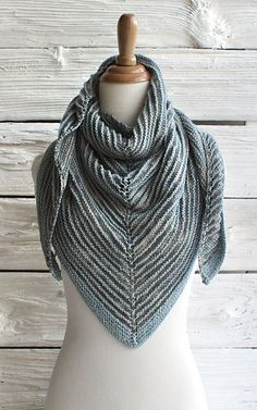Free knitting pattern for Serena Shadow Shawl. Antonia Shankland's shawl is is knit in 2-row stripes with the colors not in use carried up side of work.