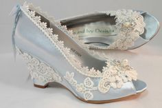 These wedding wedges are dyed in a bright robins egg blue but they may be dyed any color you like. They have a 2.5 inch heel, I do have others