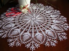 large crochet tablecloth round placemat table easter