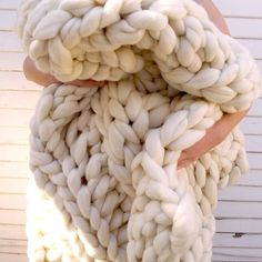 "I have one ready to ship, or pick up, chunky knit blanket! Measuring in at a whopping 70"" x 80"", it will surely keep you warm on this nice gloomy day. Get it today for $400! #chunkyknitblanket #chunkyknit #homedecor #interiordesign #home #decorate #handmade #etsy #woolblanket #cozy #extremeknitting #modern #minimalist #scandinaviandesign #winter #sale"