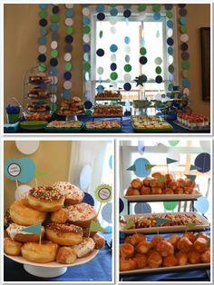 3rd Birthday, Pajamas & Pancakes, Pajamas, Pancakes, Birthday Party, Pajama & Pancake Party, Boys Pajama & Pancake Party, food table, tablescape, donuts,