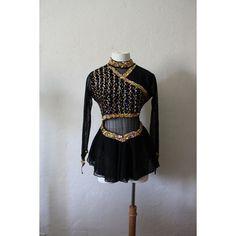 Vintage Black and Gold Sequined Ice Skating Dress/Leotard w/ finger... ❤ liked on Polyvore featuring dresses, night out dresses, sequin dresses, long-sleeve skater dresses, sequin cocktail dresses and vintage skater dress