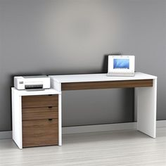 Nexera Liber-T Computer Desk with Filing Cabinet - White and Espresso | www.hayneedle.com $350