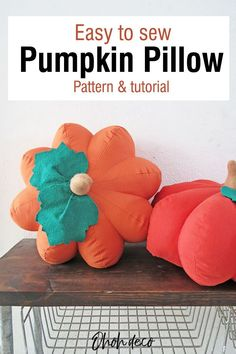 Have fun making this fall throw pillow. Get the sewing tutorial and the   pattern to make a DIY pumpkin shaped pillow. It's the perfect cute and   cozy decoration for Fall, Thanksgiving, and Halloween. Let's sew!   #diy #pattern #pillows