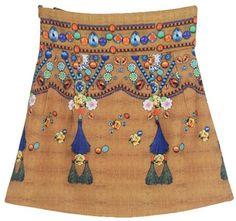 Brown Rhinestone Pattern Print Skirt
