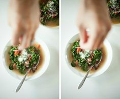 Italian-style beans and greens soup garnished with Parmesan from Shanna at Food Loves Writing
