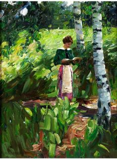 Girl Reading Under Birch Trees on a Hillside. Alexander Köster (German, Oil on canvas. Köster's work shows a consistent development from a very realistic, detailed account in the to an ever freer, more generous painting style of the. Reading Art, Woman Reading, Reading Books, Louis Aragon, Books To Read For Women, World Of Books, Collaborative Art, Female Art, Book Lovers
