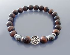 Red tiger eye bracelet Mens infinity bracelet Mens beaded bracelet Ox Eye & Sterling silver celtic knot  Good luck and protection bracelet