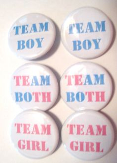 Twins Gender Reveal Party Team Boy Team Girl Team Both Party Favors Set of or inch Pin Back Buttons Pink Blue Baby Shower Twin Gender Reveal, Baby Gender Reveal Party, Gender Party, Twins Announcement, Baby Announcement Pictures, Twin Babies, Baby Twins, How To Have Twins, Reveal Parties