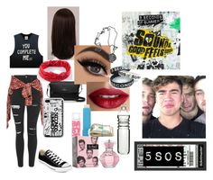 """""""Sounds Good Feels Good (08/24/16)"""" by luke-hemmings-baby ❤ liked on Polyvore featuring Topshop, UNIF, R13, Converse, WigYouUp, Full Tilt, Kate Spade, TheBalm, Maybelline and Dot & Bo"""