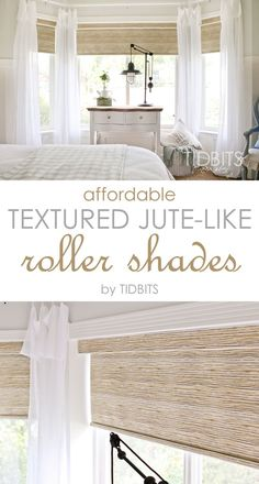 Affordable textured jute-like roller shades - as seen in TIDBITS master bedroom reveal. house window coverings Affordable Textured Jute-like Roller Shades - Tidbits Cortinas Rollers, Br House, House Wall, Bedroom Blinds, Bay Window Bedroom, Bay Window Decor, Muebles Living, House Blinds, Patio Blinds