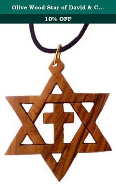 Olive Wood Star of David & Cross Pendant Necklace Holy Land Jewelry. These exquisitely carved Messianic Star capture the beauty of fine craftsmanship of the artist from the Holy Land. Combining Jewish and Christian symbols! No two necklaces are alike. The Olive wood necklaces are nicely presented for gift giving with Olive Wood Tree picture background with a prayer on the back. Prayer on the Back of package: Jesus Prayed in the Garden of Gethsemane Holy Father, Protect them in your name…