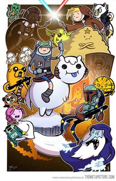 Adventure Time meets Star Wars. Love how my favorite AT character Marceline is my favorite SW character Boba Fett.