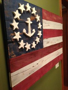 Primitive American Flag homemade from old barn wood. This flag was created with a look with the stars and the anchor. Very nice sturdy piece. Patriotic Crafts, July Crafts, Patriotic Decorations, Holiday Crafts, Wood Animals, Craft Projects, Projects To Try, Craft Ideas, Flag Decor