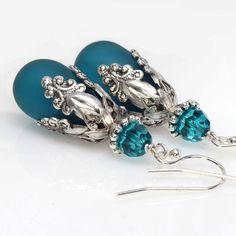 Sea Glass Earrings Teal Teardrop Dangle Earrings by ElandraDesigns, $25.00