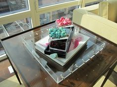 stone boxes and lucite tray