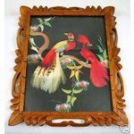 mexico feather art vintage 1940 | eBay Image 1 Vintage Framed Mexican Feather Folk Art Bird Painting