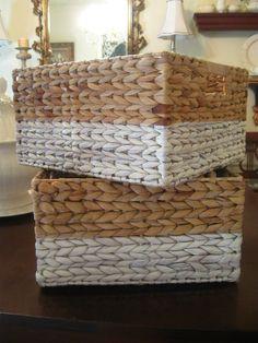 Designer Baskets - A little painter's tape & paint & voila!