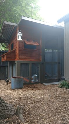 Backyard chicken coop Backyard Chicken Coops, Chickens Backyard, Hoop House Chickens, Shed, Birds, Cabin, House Styles, Home Decor, Hens