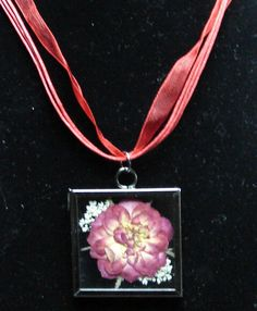 Miniature Rose necklace from my pressed flower jewelry