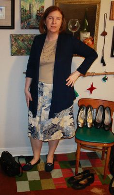Top tucked in. Which is better? #Stitchfix navy cardigan with beige long sleeve top and blue-beige-off white pattern skirt. Ballet flats. (I didn't feel like taking stockings or tights on and off, so imagine them on my pale legs.)