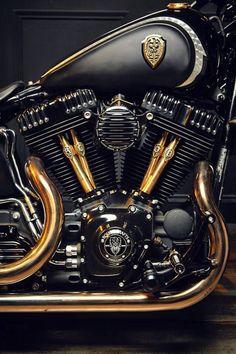pinterest.com/fra411 #motorbike - #black #gold #motorcycle