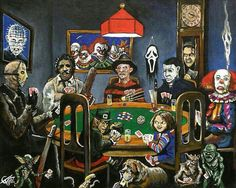 Horror Card Game from Tom Carlton Art is part of Horror icons - The Dogs playing poker, Horror cards game Online Store Powered by Storenvy Dogs Playing Poker, Horror Artwork, Funny Horror, Horror Movie Characters, Horror Icons, Arte Horror, Horror Scream, Freddy Krueger, Halloween Horror