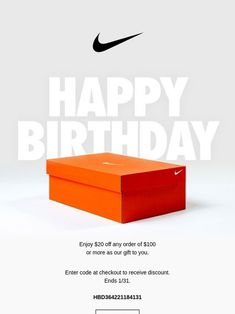 Nike: Happy birthday from Nike Happy Birthday Email, Birthday Rewards, Email Marketing Design, Email Marketing Campaign, Email Newsletter Design, Newsletter Layout, Card Ui, Email Design Inspiration, Email Templates